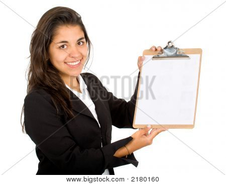 Business Woman With A Notepad