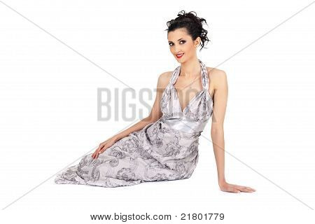 Brunette In Elegant Dress
