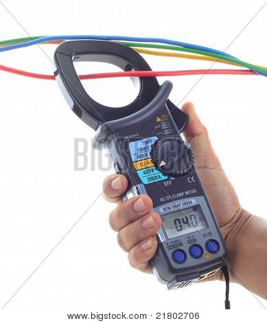 Man's Hand Hold Ac And Dc Clamp Meter