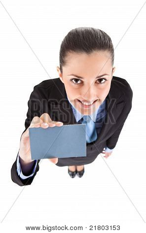 Woman Shoving Business Card