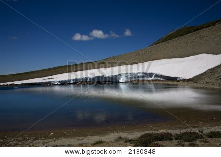 Frozen Lake, Sunrise, Mount Rainier, Snow In Summer