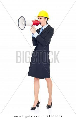 Engineer Shouting Trough Megaphone