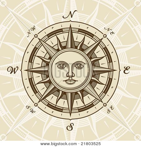 Jahrgang Sonne Compass rose