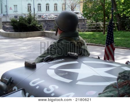 American Soldier And A Car