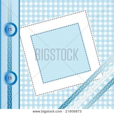 Capa de álbum de foto de guingão ou quadro com fitas e botões. Estilo scrapbook. Também disponível na vec