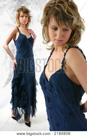 The Young Woman In Dark Blue Dress