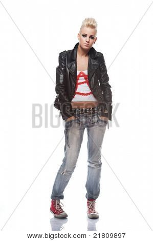 Punk girl in leather jacket.