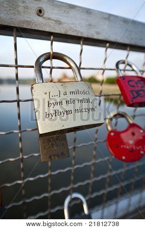 Love Padlock On The Bernatka Footbridge