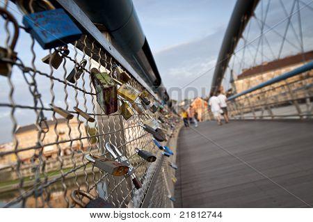 Love Padlock On Footbridge