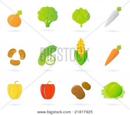 Vegetable Food Icons Collection Isolated On White.