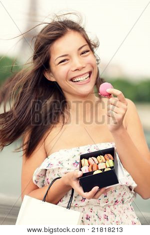 Paris Woman Eating French Macaron