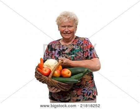 Senior Woman With A Fruit Basket On White Background