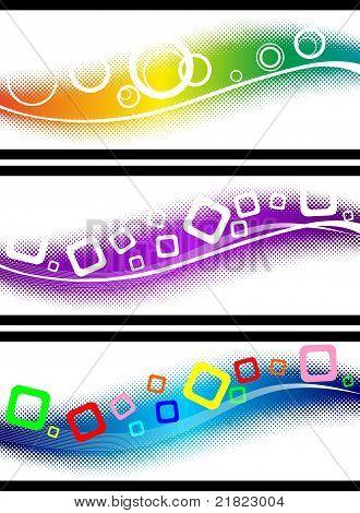 Three halftone design elements