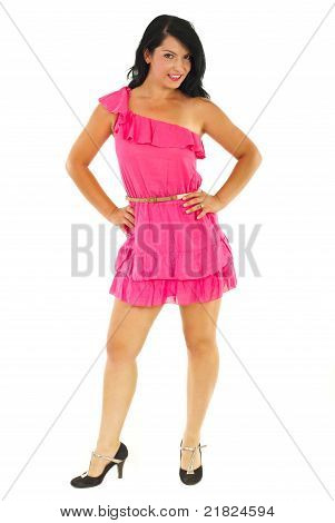 Beautiful  Model Woman In  Pink Dress
