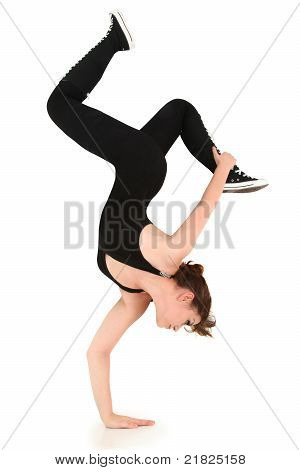 Flexible Strong Teen Doing Handstand With Clipping Path