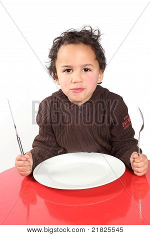 Little Boy Waiting For His Food