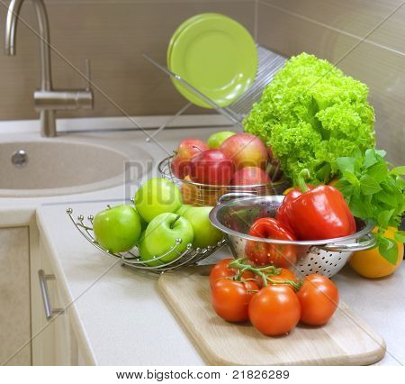 Vegetables on the kitchen table.Diet