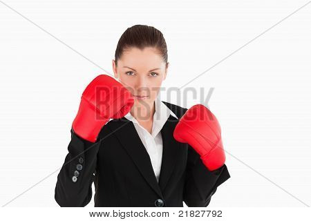 Beautiful Woman Wearing Some Boxing Gloves