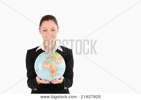 Good Looking Woman In Suit Holding A Globe