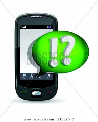 mobile phone and speech bubble illustration design