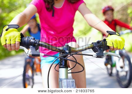 Close-up of handle bar of children?s bicycle