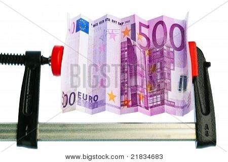 Euro Bill Pinched In Clamp