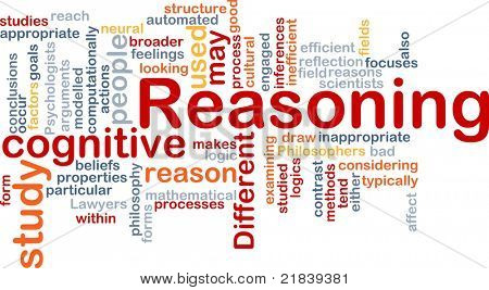 Background concept wordcloud illustration of cognitive reasoning logic
