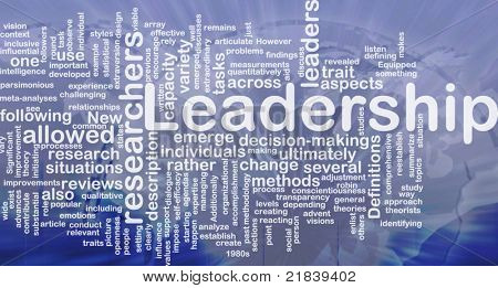 Background concept wordcloud illustration of leadership international