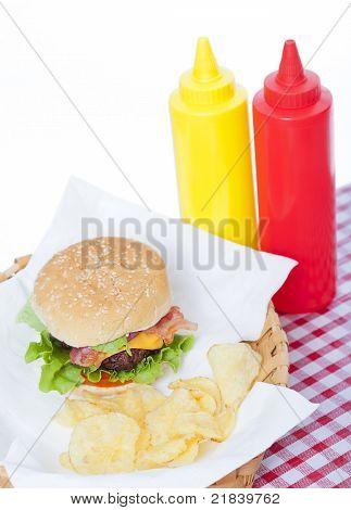 Bacon Cheeseburger In A Basket