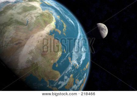 Asien und Mond mit Sternen
