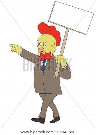 Cartoon Rooster Chicken Walking Placard Sign