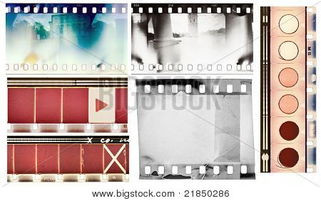 Vintage film textures set, isolated.