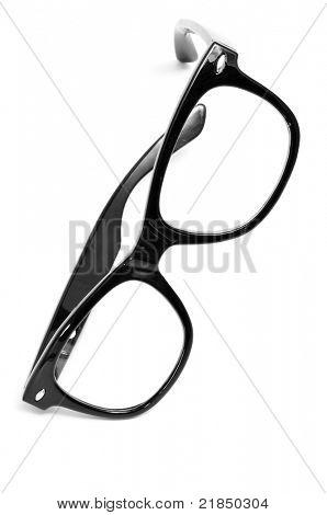 black glasses on a white background