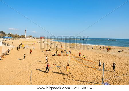 BARCELONA, SPAIN - JANUARY 22: La Nova Icaria Beach on January 22, 2011 in Barcelona, Spain. This beach, 400 meters long, arised with the urban redevelopment on the occasion of the 1992 Olympic Games