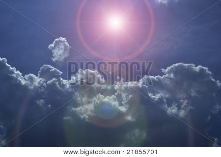 Imaginary night sky with clouds and star