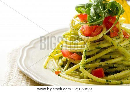Pasta With Arugula Pesto And Cherry Tomatoes