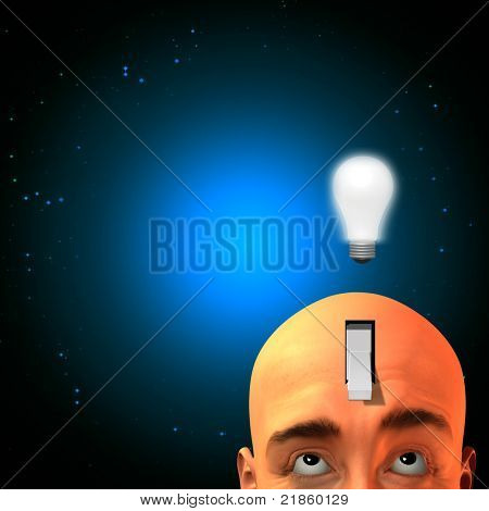 Expressive man with switch in head