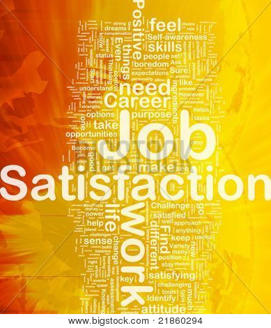 Background concept wordcloud illustration of job satisfaction international