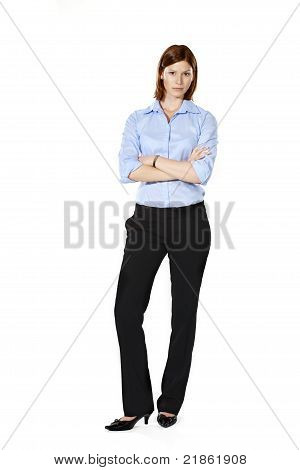 Young Strict Businesswoman In A Defensive Position
