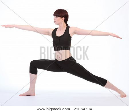 Exercising Yoga Warrior Two Pose Virabhadrasana