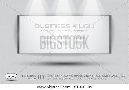 Showroom flying white panel for product advertising with light spotlights and place for text or image. All shadows are transparent, you can place it on every background.
