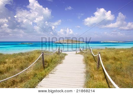 beach way to Illetas paradise beach in Formentera Balearic islands
