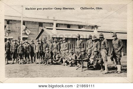 Machine Gun Practice - Early 1900's WWI postcard depicting soldiers practicing machine gun drills at Camp Sherman in Chillicothe, Ohio.