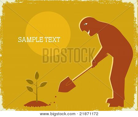 Gardener Digging By Shovel .vector Poster