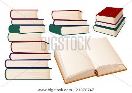 Stacks of books on white background, vector illustration.