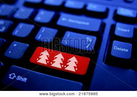Christmas Tree On Computer Key