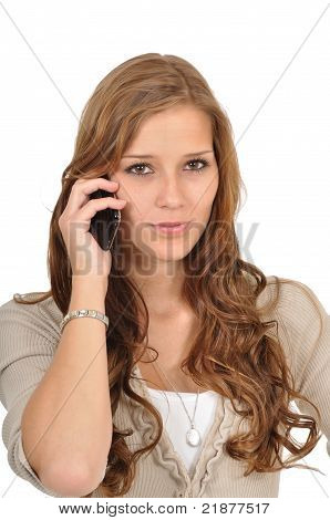 Young Woman Phoned Concentrated