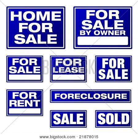 Various Blue Real Estate and Business Signs. Please see my variations on this theme - more vector Real Estate signs.
