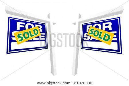 Pair of Blue For Sale Real Estate Signs with Sold in Perspective. Please see my variations on this theme - more vector Real Estate signs.