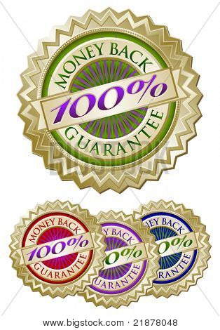 Set of Four Colorful 100% Money Back Guarantee Emblem Seals